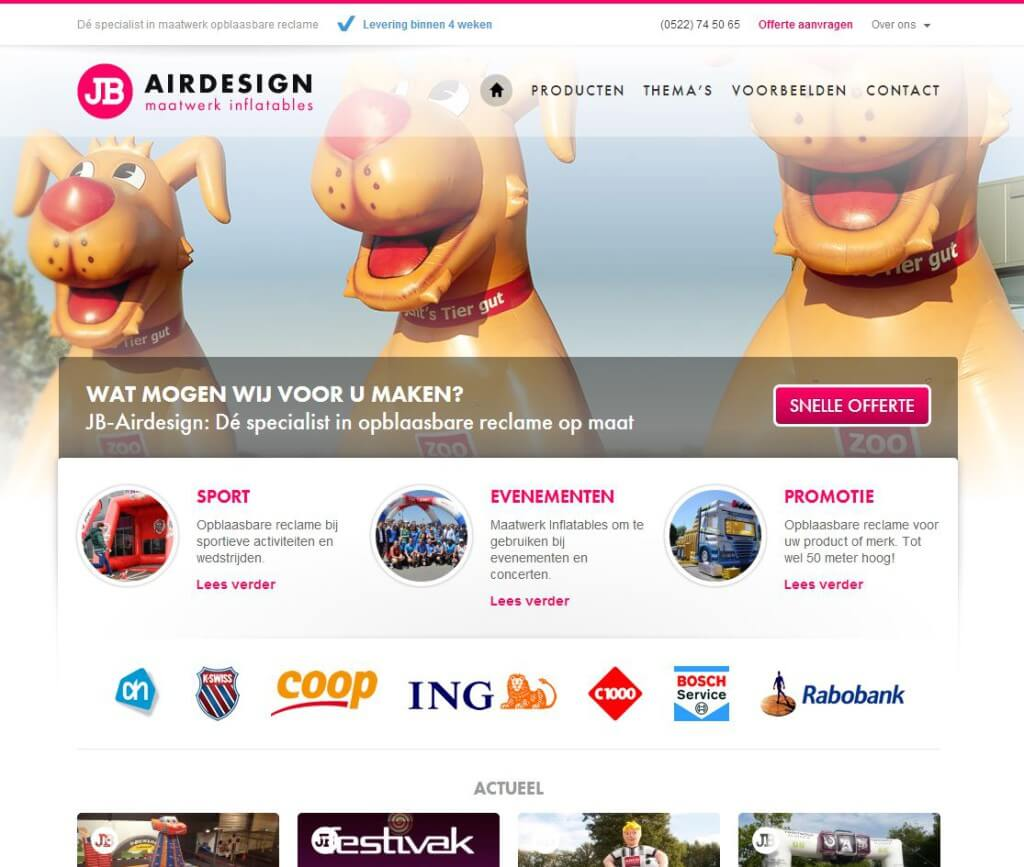 website voorbeelden in wordpress de websitemaker jb airdesign jb inflatables marketingportaal